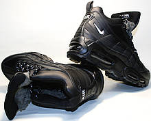 Мужские зимние кроссовки nike air max 95 черные с мехом