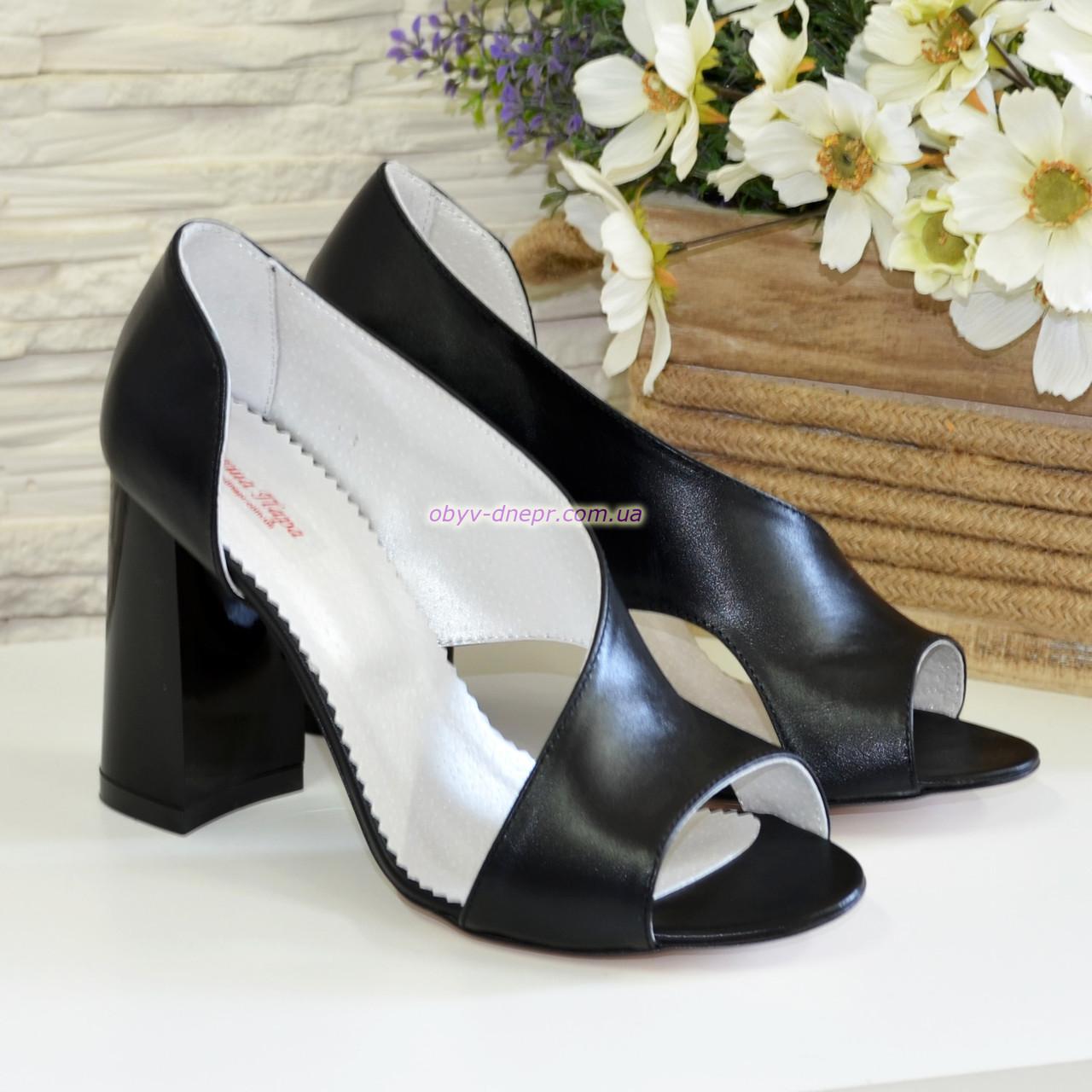 Купить Босоножки женские кожаные на высоком устойчивом каблуке 7bd4450694eb7