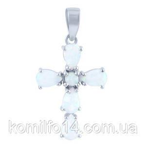 Серебряный кулон-крестик с благородным опалом