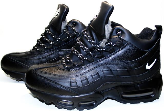 Черные мужские кроссовки Nike Air Max 95 с мехом