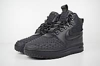 1f589df7 Мужские зимние ботинки (кроссовки) Nike Lunar Force 1 Duckboot 17 кожаные с  резиной черные