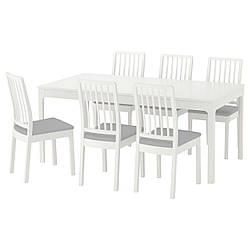 ✅ IKEA EKEDALEN / EKEDALEN (192.213.51) Стол и 6 стул, белый, Orrsta светло-серый