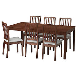 ✅ IKEA EKEDALEN / EKEDALEN (192.214.50) Стол и 6 стульев, коричневый, Orrsta светло-серый