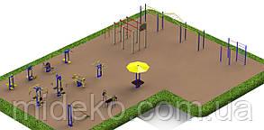 Спортивная площадка с уличными тренажерами 1616
