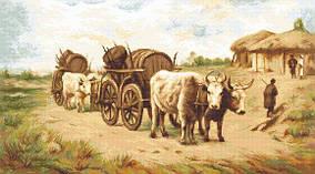Набор для вышивания крестиком B579 Повозка с волами