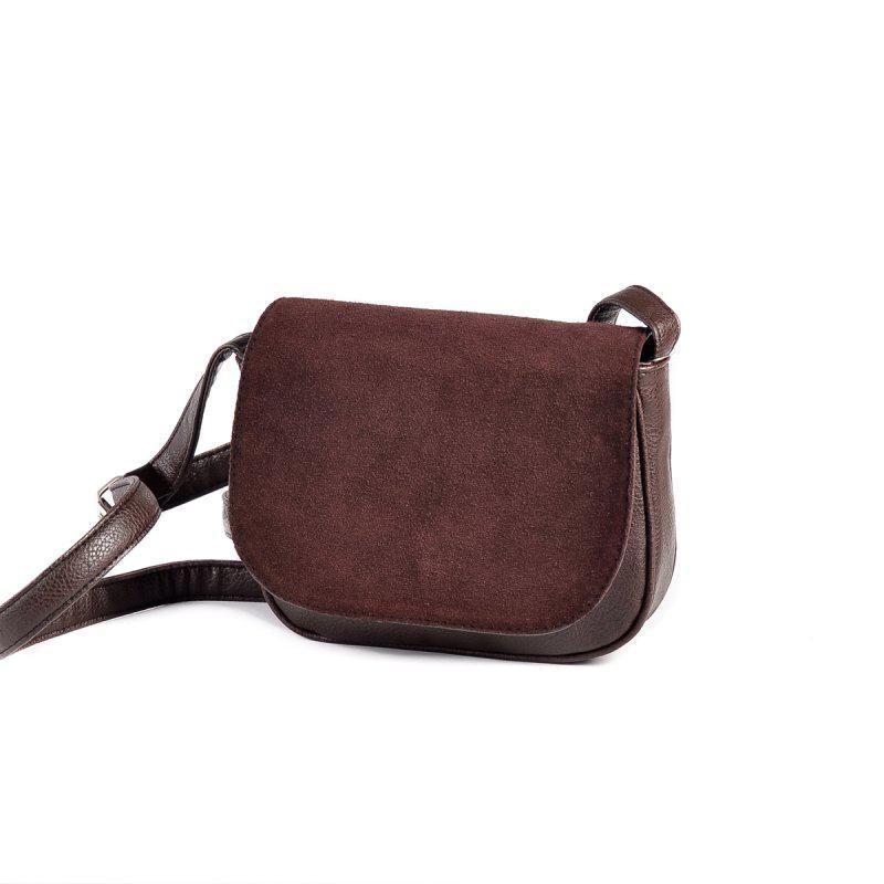 90f1bd26268d Коричневая маленькая замшевая сумочка на плечо М55-40/замш - Интернет  магазин сумок SUMKOFF