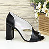 Босоножки женские кожаные на высоком устойчивом каблуке, цвет черный, фото 2