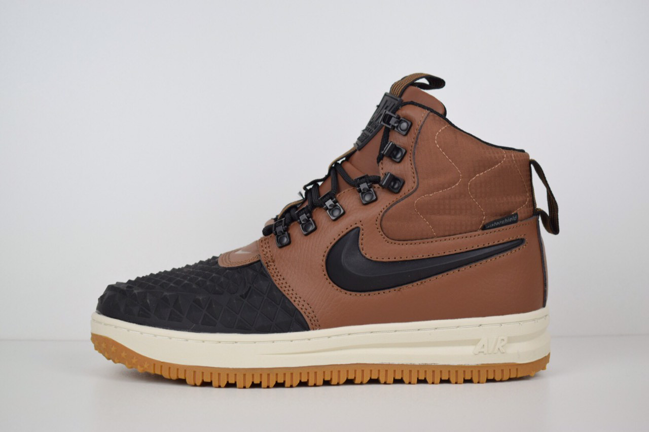 5016cf745d71 Мужские ботинки+высокие кроссовки Nike Lunar Force 1 Duckboot 17 кожаные с  резиной топ реплика ААА+