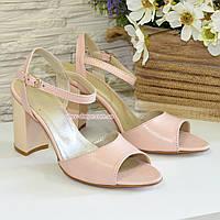 Женские кожаные босоножки на устойчивом каблуке, цвет пудра., фото 1