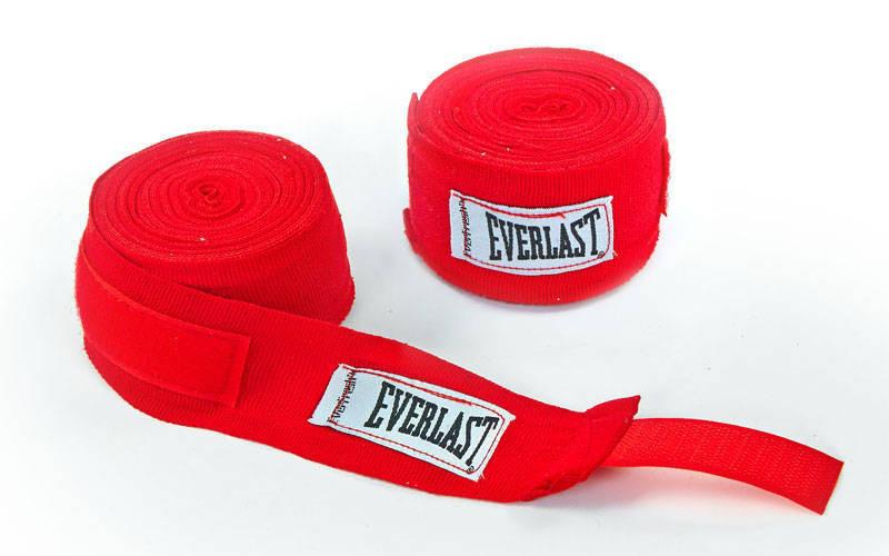 Бинты боксерские хлопок с эластаном Everlast 4456R 4м красные