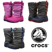 Сапоги зимние детские Crocs Kids Swiftwater Waterproof Boot / сноубутсы непромокаемые с затяжкой