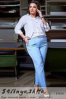 Классические брюки большого размера голубые, фото 1
