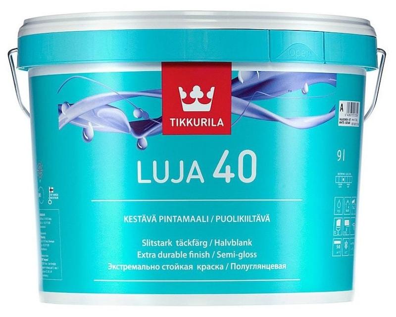 Краска для влажных помещений TIKKURILA LUJA 40 интерьерная полуглянцевая база А 9л