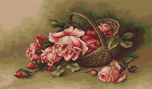 Набор для вышивания крестиком B483 Корзина с розами