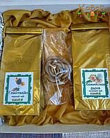 Подарок чайный с эко-свечкой из натурального пчелиного воска в золотистой коробке, фото 1
