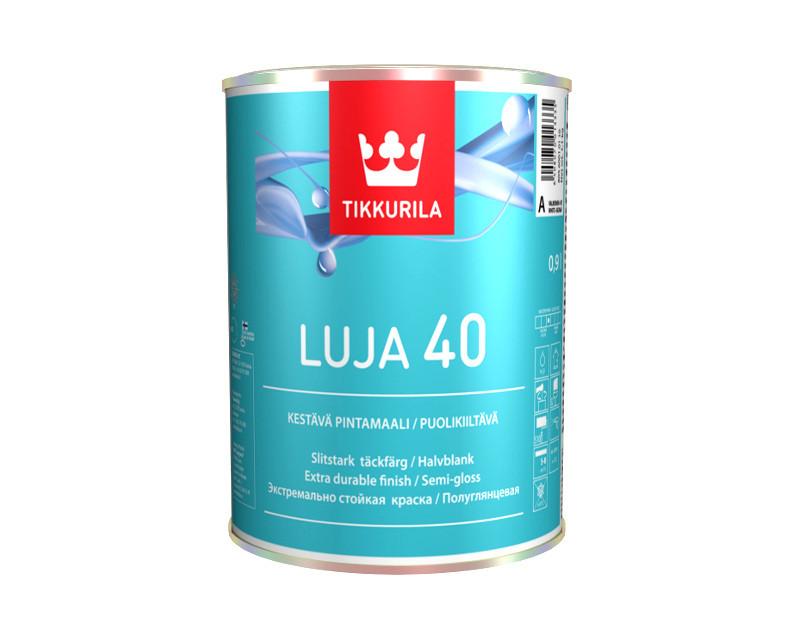 Краска для влажных помещений TIKKURILA LUJA 40 интерьерная полуглянцевая база А 0,9л