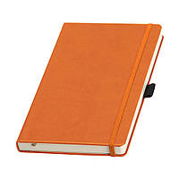 Записная книжка Туксон А5 в оранжевой обложке с кремовым блоком (Ivory Line, Италия) под нанесение логотипов, фото 1