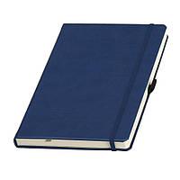 Записная книжка Туксон А5 в синей обложке с кремовым блоком (Ivory Line, Италия) под нанесение логотипов, фото 1
