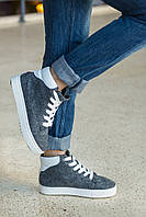 Ботинки-кеды демисезонные модные, войлок+кожа
