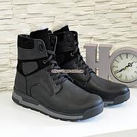 Ботинки мужские кожаные спортивного стиля, натуральная кожа крейзи черного цвета
