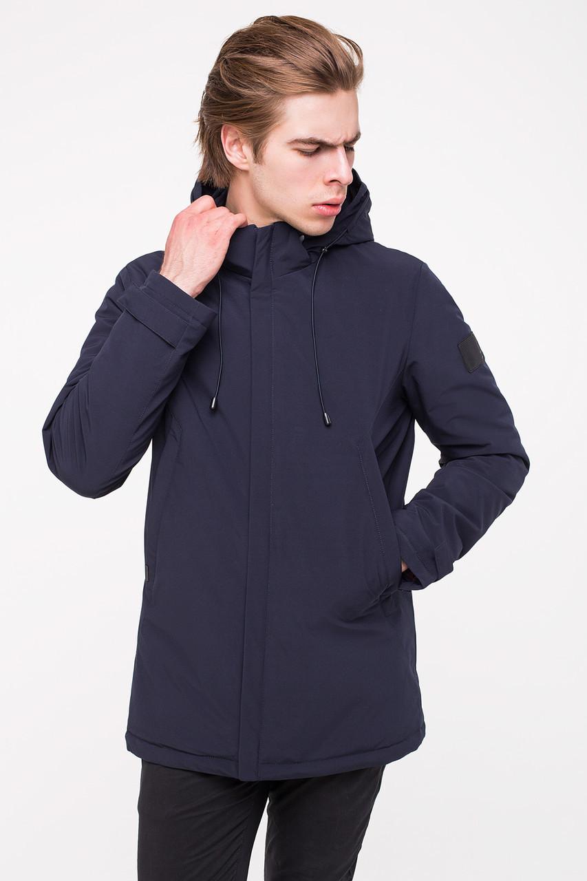 Удобная и практичная мужская демисезонная куртка MALIDINU MC-18301 - темно-синего цвета