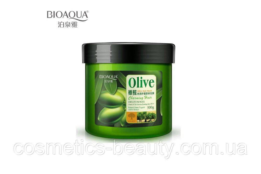 Питательная и восстанавливающа маска для волос Bioaqua Olive Hair Mask.