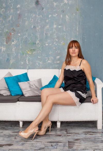 Шелковый комплект с шортами, пижама Serenade, арт. 203 черный