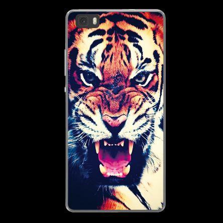 Силиконовый бампер чехол для Huawei P8 lite с рисунком Тигр