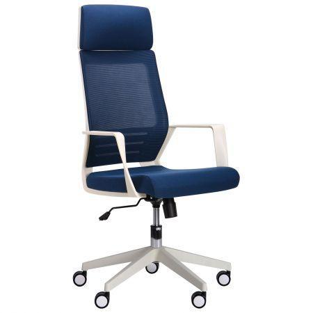 Кресло Twist white, спинка/сетка, сиденье/ткань синий (AMF-ТМ)