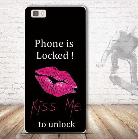 Силиконовый бампер чехол для Huawei P8 lite с рисунком Kiss me