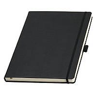 Записная книжка большая, формата  А4 от Ivory Line, Италия в черной обложке под нанесение логотипа на обложке, фото 1