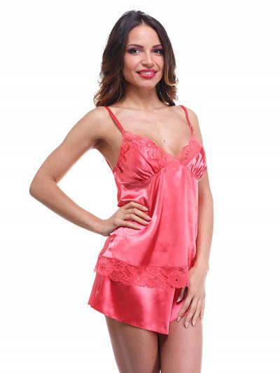 Шелковый комплект с шортами, пижама Serenade, арт. 323 коралл с кружевом