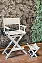Стул для визажиста, складной, деревянный, стул режиссера, стул для фото сессии, белый, фото 2