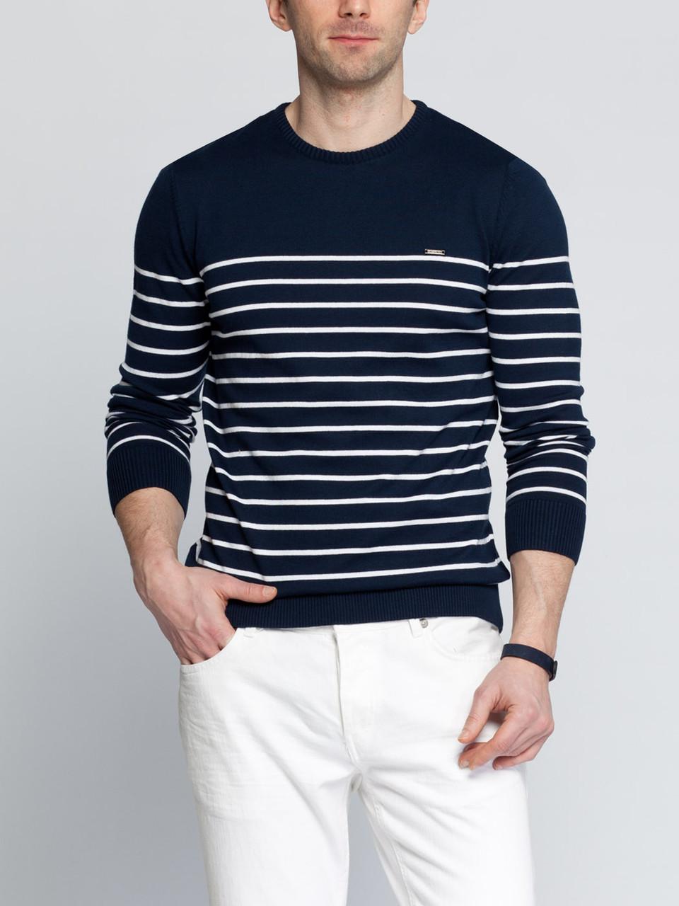 Мужской свитер синий LC Waikiki / ЛС Вайкики в белые полоски