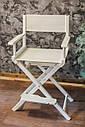 Стул для визажиста, складной, деревянный, стул режиссера, стул для фото сессии, белый, фото 4
