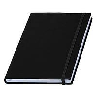 Записна книжка чорна Туксон А5 з білим внутрішнім блоком (Ivory Line, Італія) під тиснення логотипів