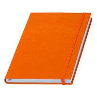 Записная книжка оранжевая Туксон А5 с белым внутренним блоком (Ivory Line, Италия) под тиснение логотипов, фото 1