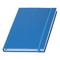 Записна книжка блакитна Туксон А5 з білим внутрішнім блоком (Ivory Line, Італія) під тиснення логотипів, фото 1