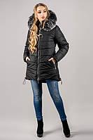 Зимова куртка Бріана (чорний сірий хутро) 44-52 розмір, фото 1