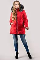 Зимняя куртка Бриана (красная серый мех) 44-52 размер, фото 1