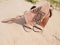 Клатч из кожи питона Маленькая сумка кошелек
