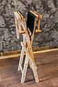 Стул для визажиста, складной, деревянный, стул режиссера, черный с натуральным цветом дерева, фото 2