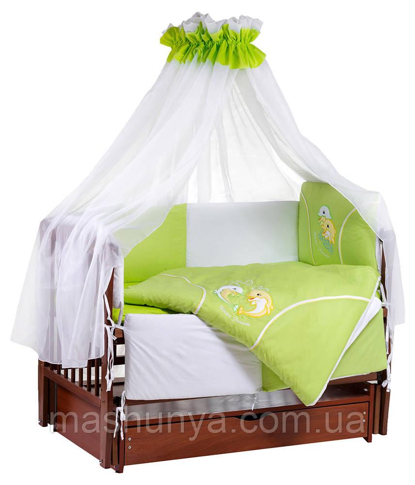 Детский постельный комплект Tuttolina 7 элементов с балдахином
