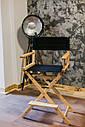 Стул для визажиста, складной, деревянный, стул режиссера, черный с натуральным цветом дерева, фото 5