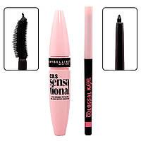Тушь для ресниц Maybelline Gemey Cils Lash Sensational Mascara + карандаш (Розовая), фото 1