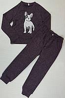 Спортивный прогулочный детский костюм р. 116-134 бордовый меланж бульдог