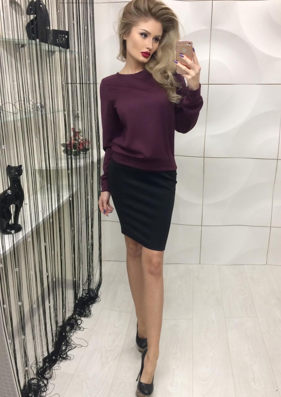 Костюм женский кофта с юбкой на молнии ft-216 бордовый