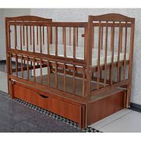 Детская кроватка Sofia Eco Color S-5 Орех (120*60, 3 ур-ня, откидн. бок., маятник, ящик)