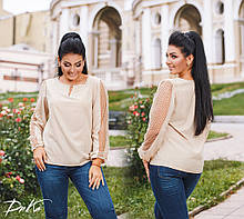 Блузка блуза женская супер софт рукав отделка сетка с напыление флок горох батал размеры:50,52,54,56