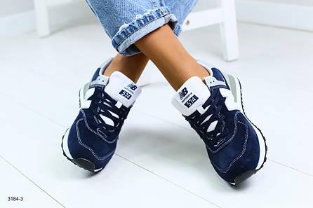 Женские синие кроссовки, из натуральной замши